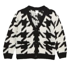 Houndstooth Check Cardigan (Toddler Boys & Little